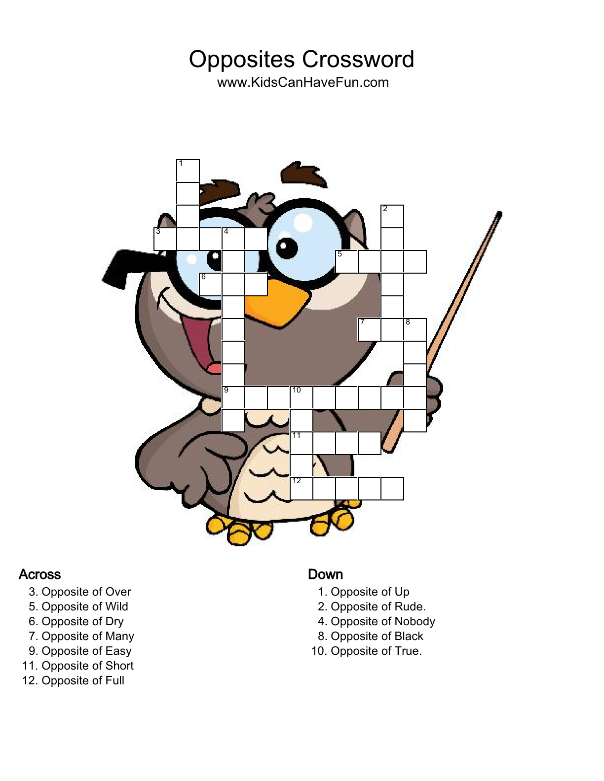 Crossword Quiz Opposites Level 8