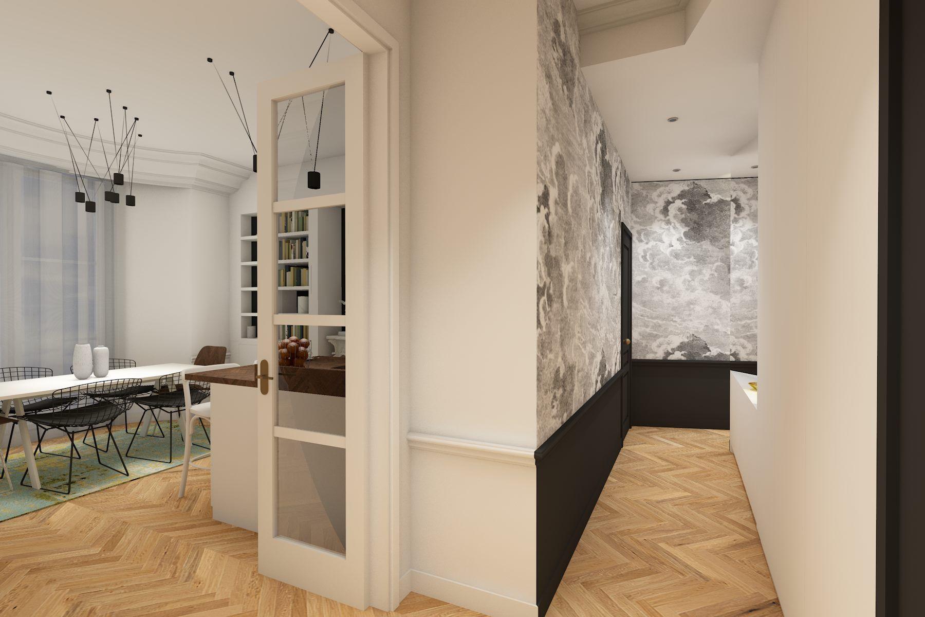 Papier Peint Noir Et Blanc Graphique couloir avec papier peint graphique noir et blanc | appart