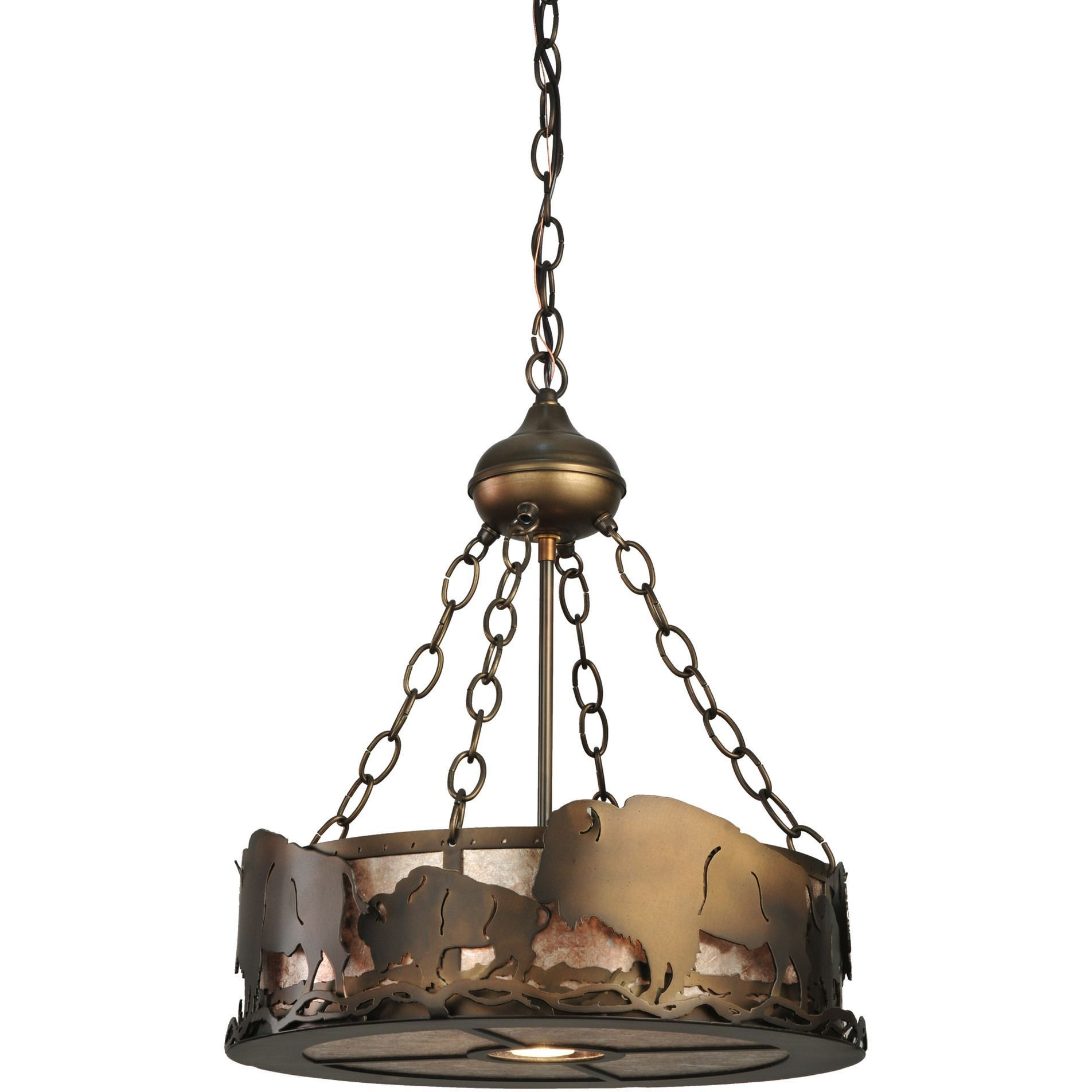16 Inch W Buffalo Inverted Pendant Hanging LampsAntique