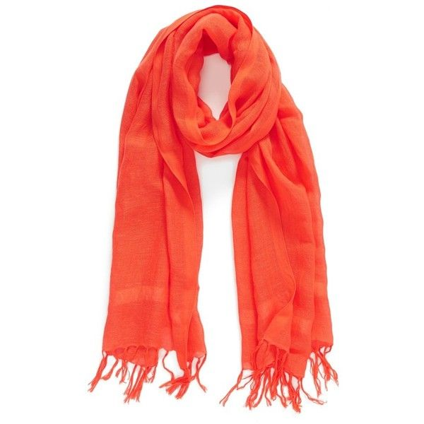 Caslon Linen Blend Scarf ($32) ❤ liked on Polyvore featuring accessories, scarves, red grenadine, fringe scarves, summer shawl, summer scarves and fringed shawls
