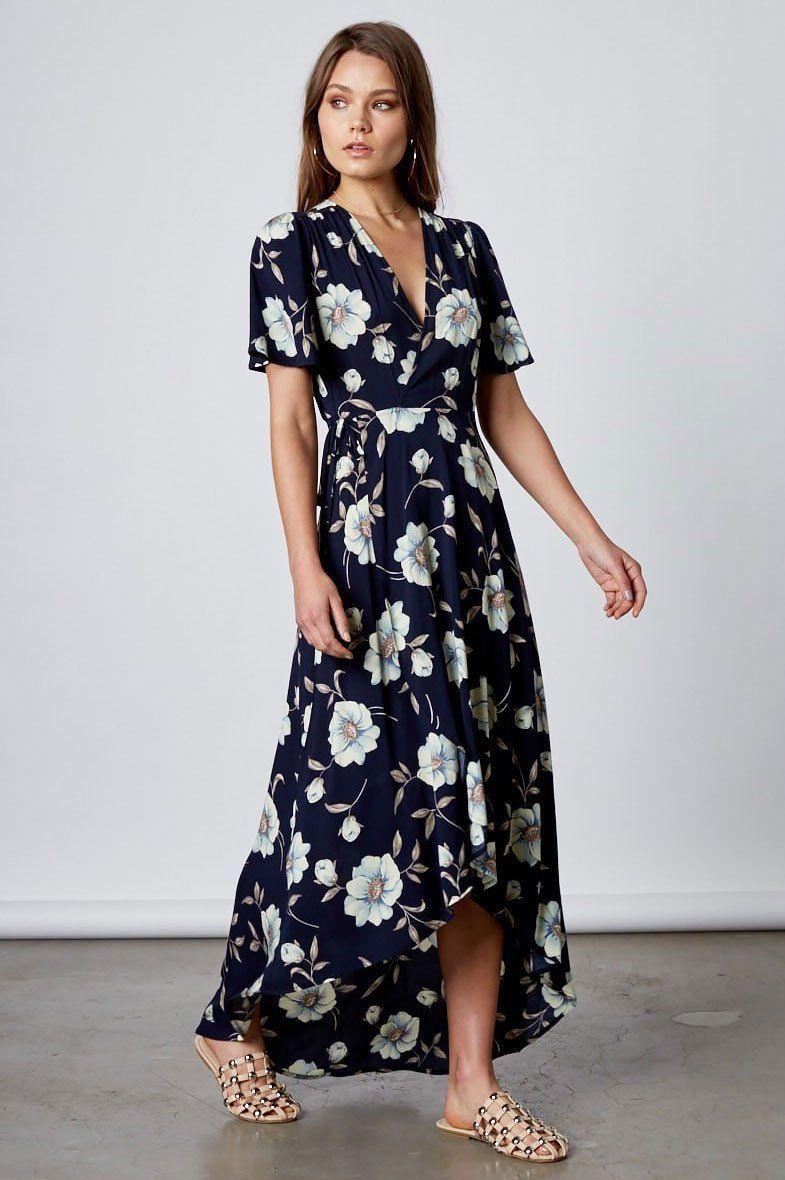 4bcc8313150 Women s short flutter sleeve navy floral print long wrap maxi dress for wedding  guest attire