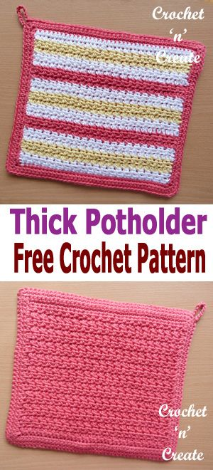 Crochet Thick Potholder | CrochetHolic - HilariaFina | Pinterest ...