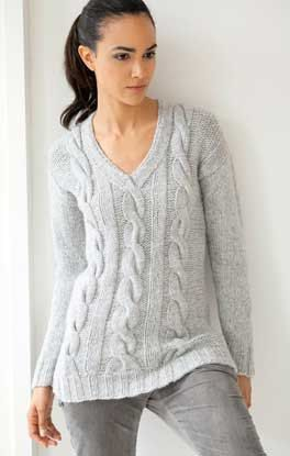 Hand knit Sweater, Womens, Knitting, Cabled Pullover V-neck ...