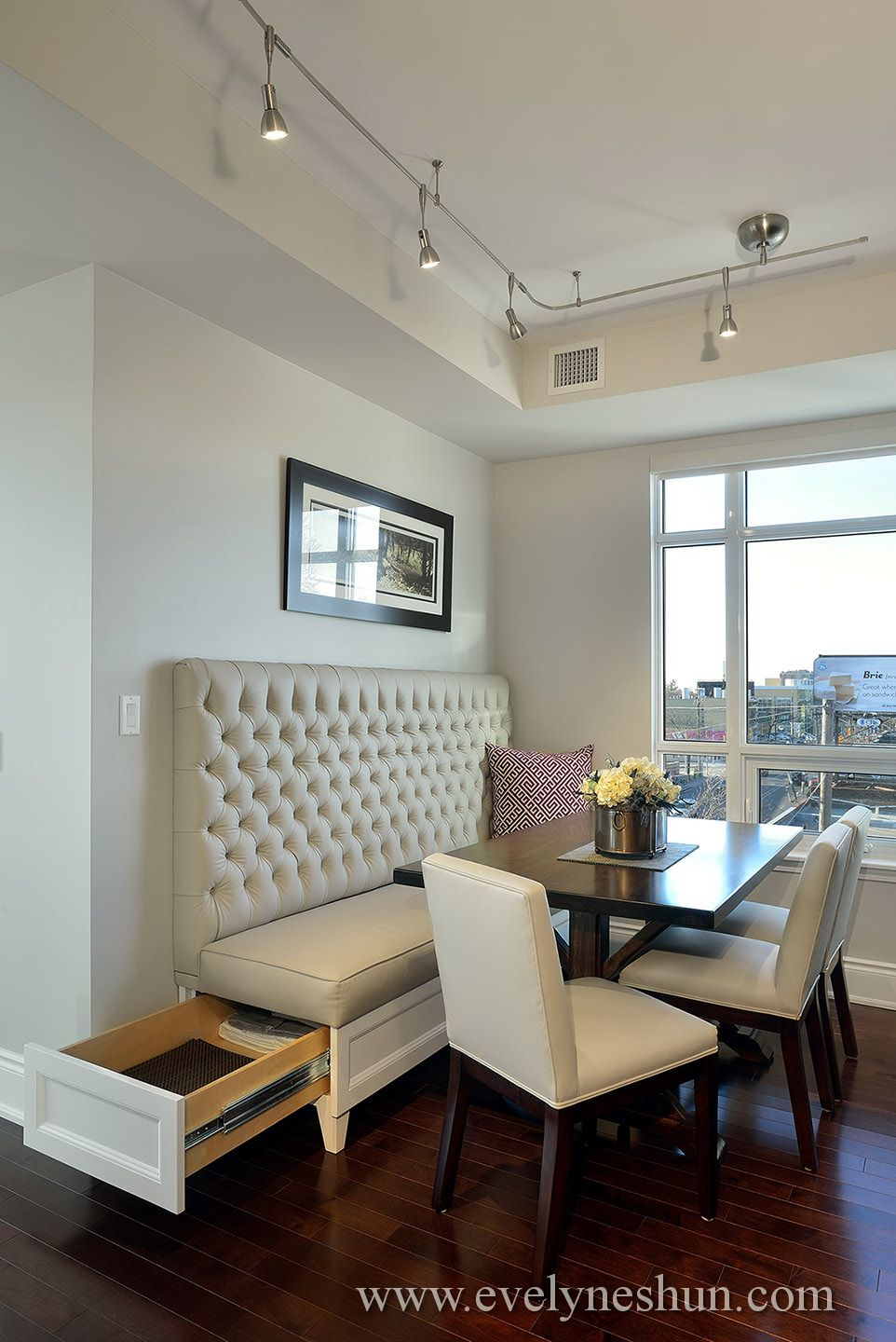 Secret Storage In A Custom Made Dining Tuft Back Banquette