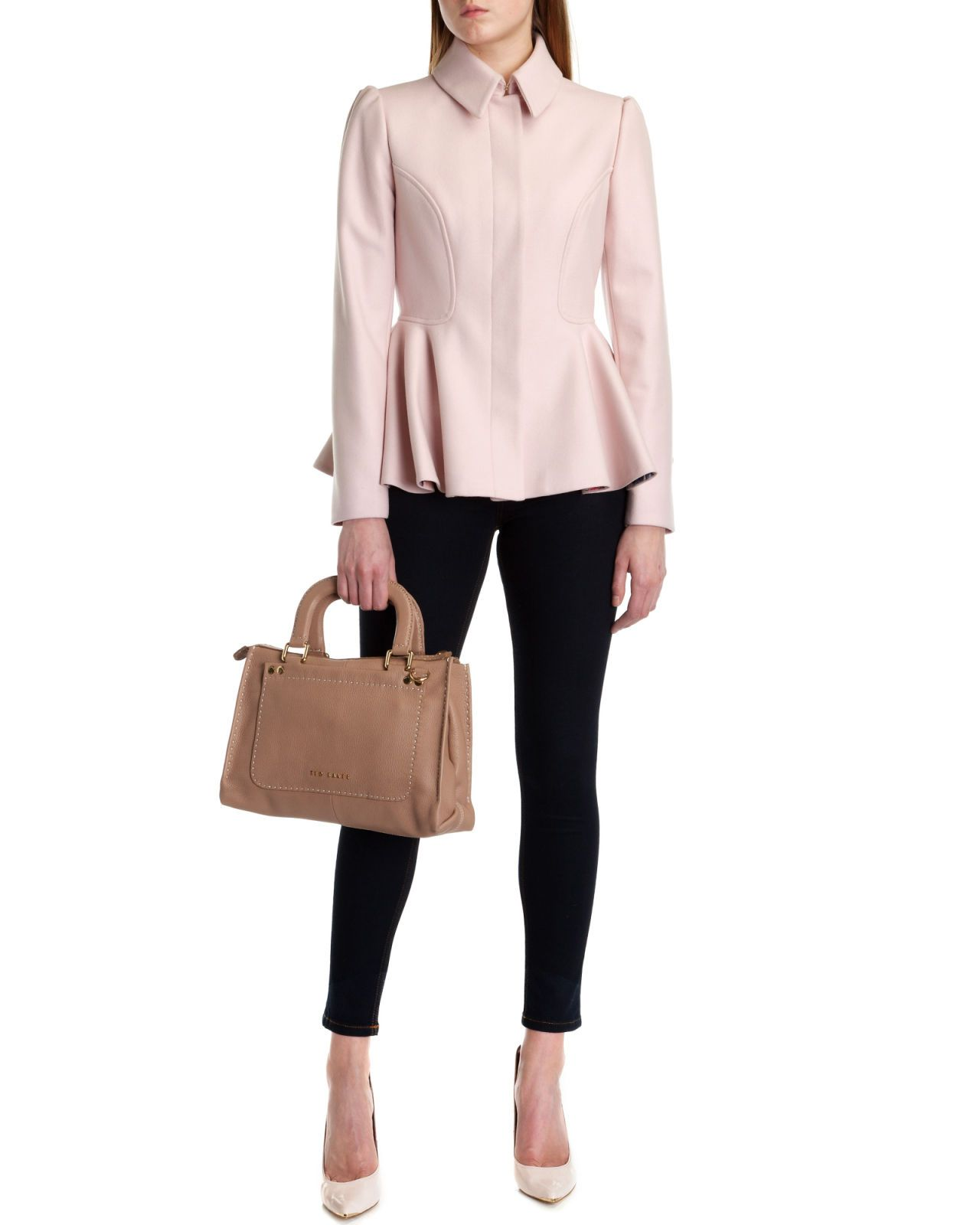 Short peplum coat - Nude Pink | Jackets & Coats | Ted Baker UK ...