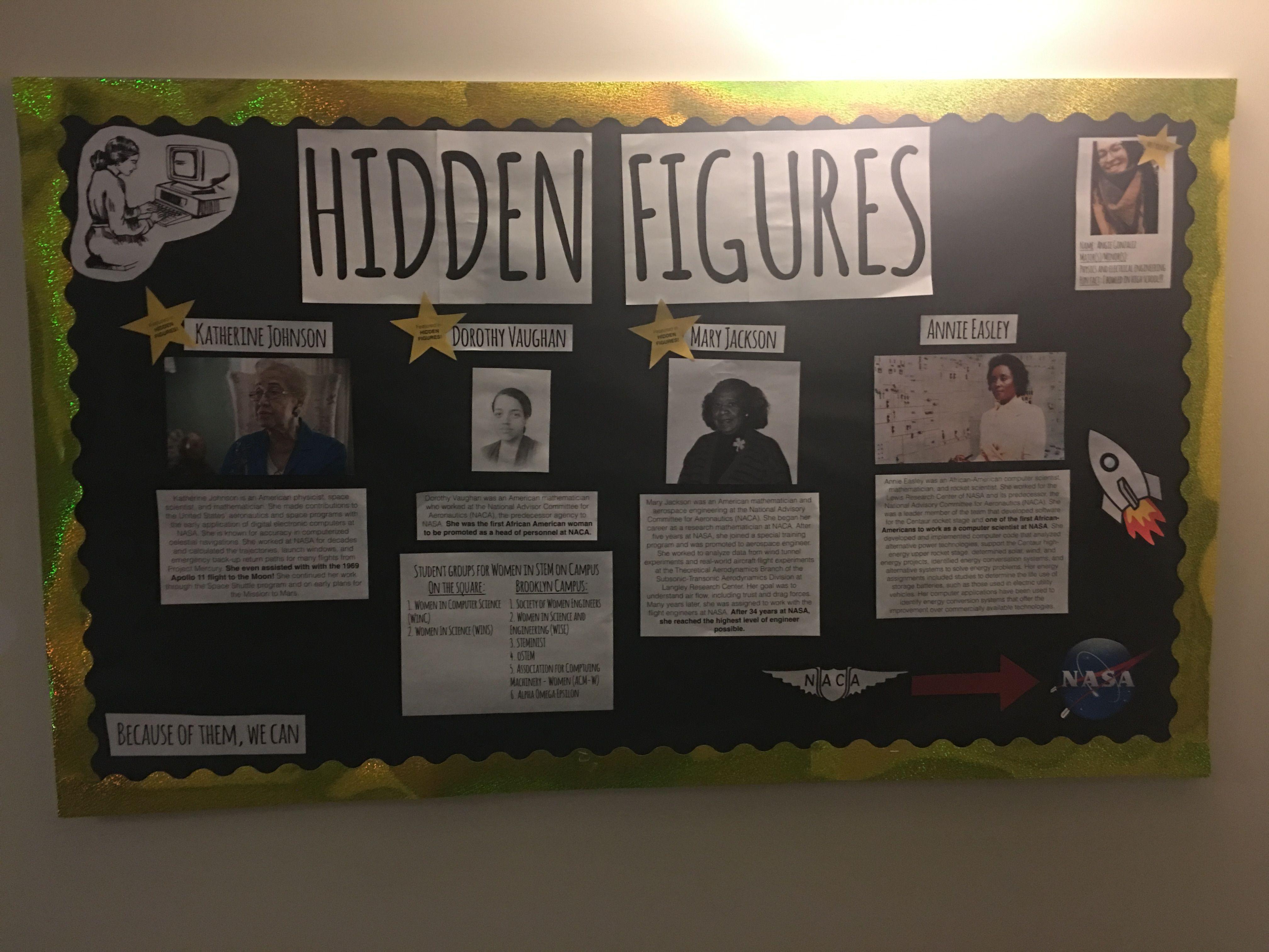 Hidden Figures bulletin board RA Adventures 2016 17