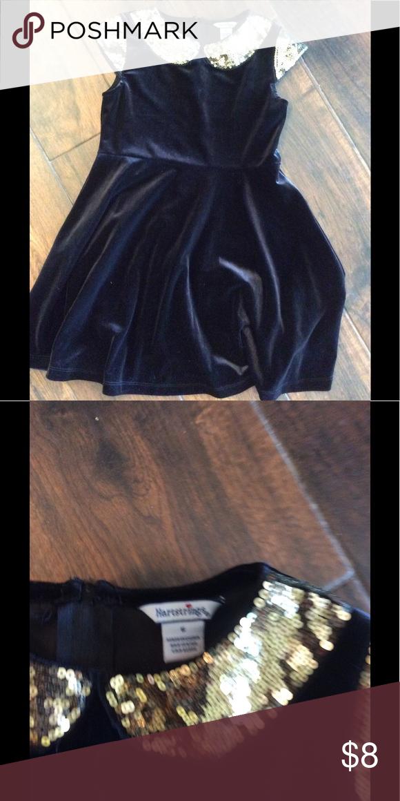 Hartstrings Dress 6 Black velvet dress with gold sequin trim. Fancy and playful. Hartstrings Dresses