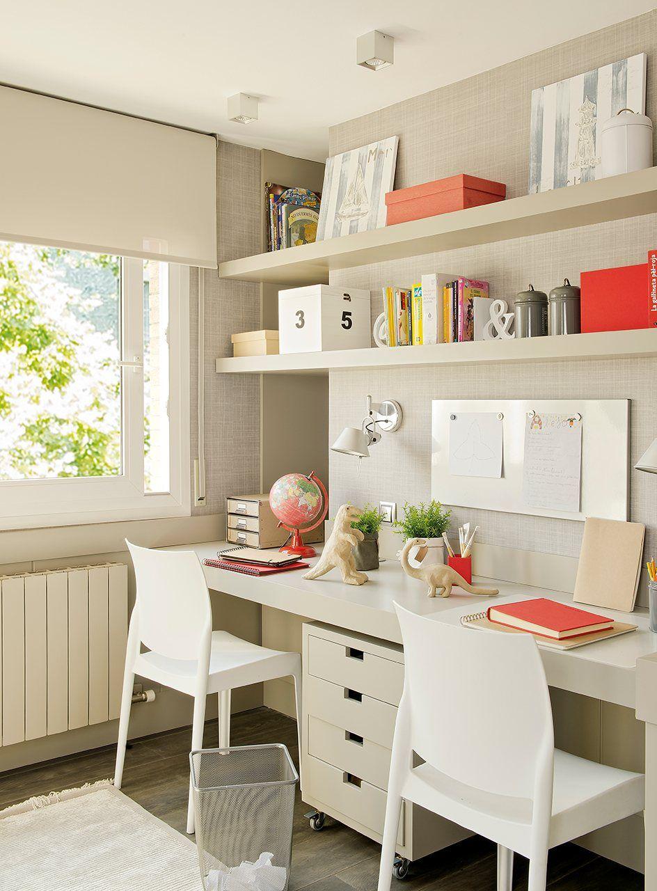 Zona De Estudio Con Escritorio Doble Y Baldas Zona De Estudio  ~ Habitaciones Dobles Para  Ninos