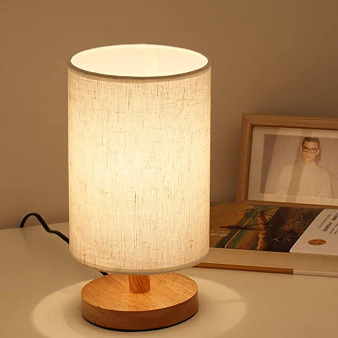 Lifeholder Table Lamp Bedside Nightstand Lamp Simple Desk Lamp Fabric Wooden Table Lamp For Bedroom Liv Table Lamp Wood Wooden Table Lamps Wood Table Modern