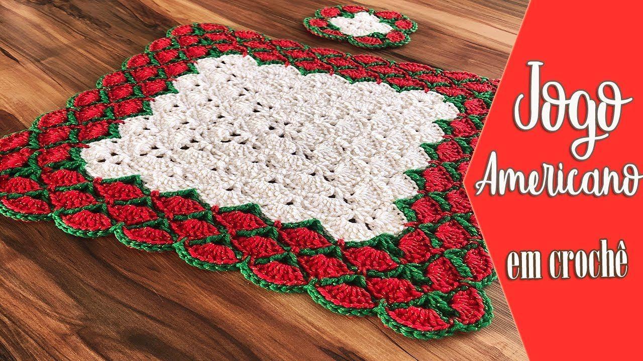 Jogo Americano De Natal Mp4 Youtube Em 2020 Jogo Americano De Croche Suplat De Croche Motivos Natalinos Em Croche
