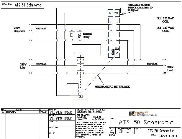 ATS50 Schematic Luxury rv, Transfer switch, Motorcoach