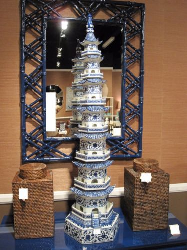 PAIR-of-BLUE-WHITE-PORCELAIN-PAGODA-HEAVEN-TOWERS-Chinoiserie-48-H