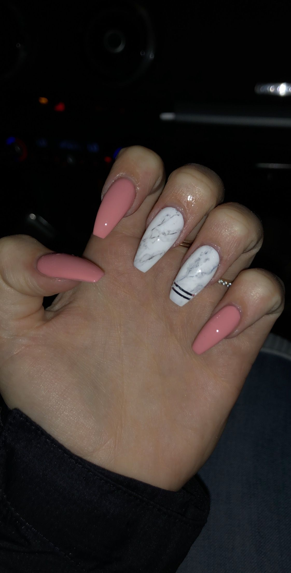 Pink With White Marble And Stripes With Images Coffin Nails Designs Fake Nails