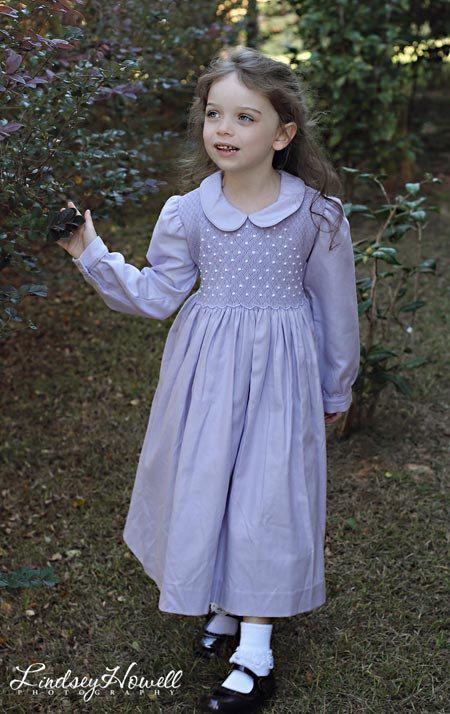 320c3aeb9 Hand smocked girls Easter Spring long sleeve dress