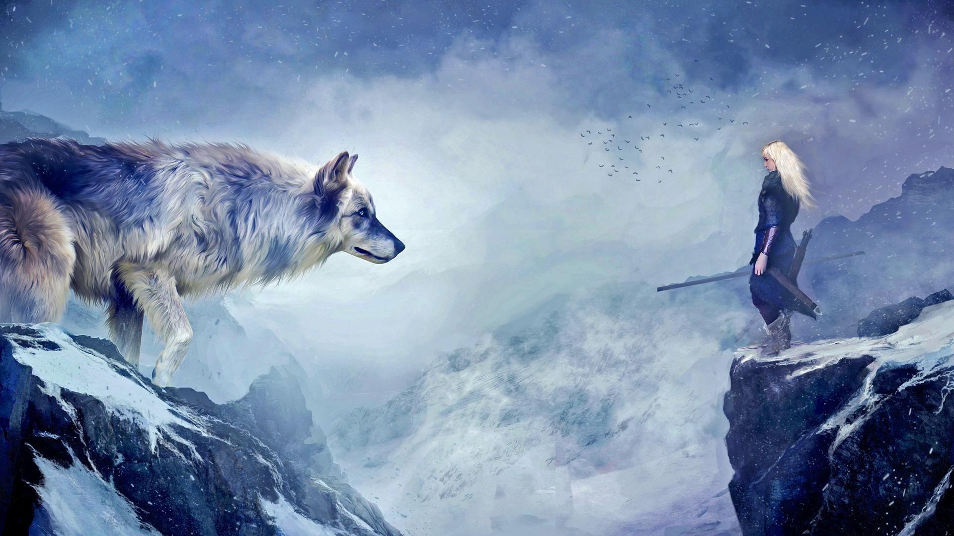 Fantasy Wolf Fantasy Woman Warrior Woman Mountain White Hair Wallpaper Wolf Wallpaper Fantasy Wolf Winter Wolves