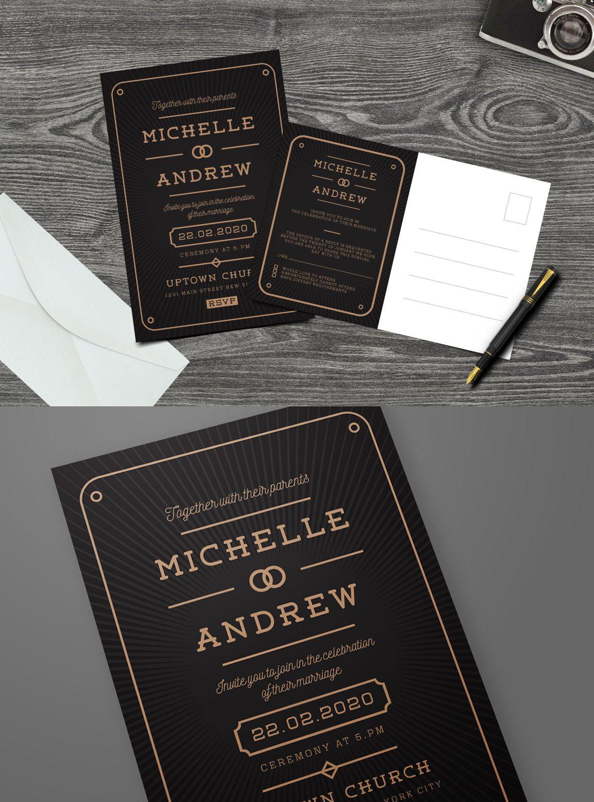 modern art deco wedding invitation template ai psd design graphic