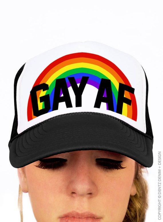 a16dac17328 Gay Pride Hat - Gay AF Hat - Snapback Trucker Hat