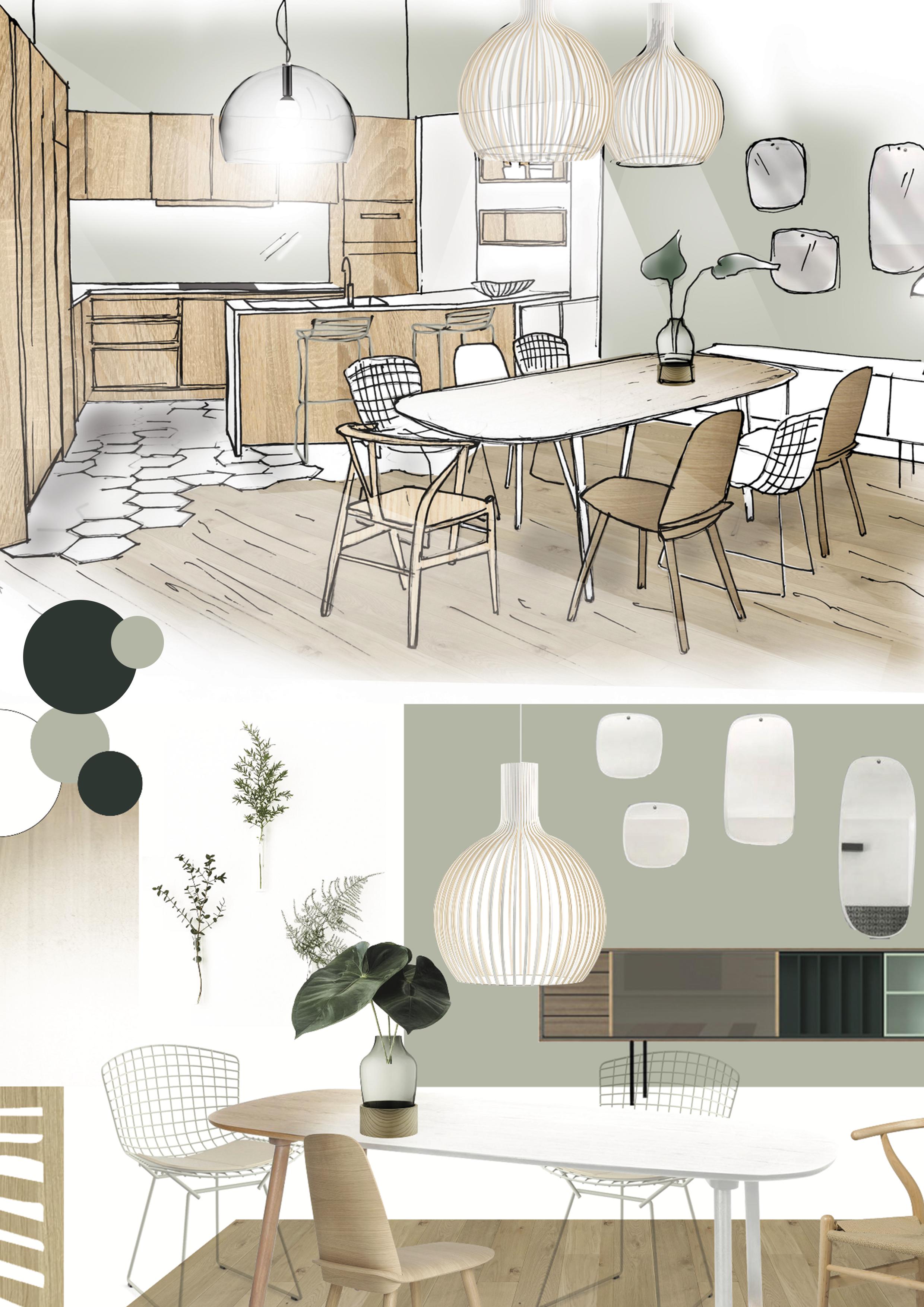Planche décoration croquis / Inspiration déco cuisine  Planche