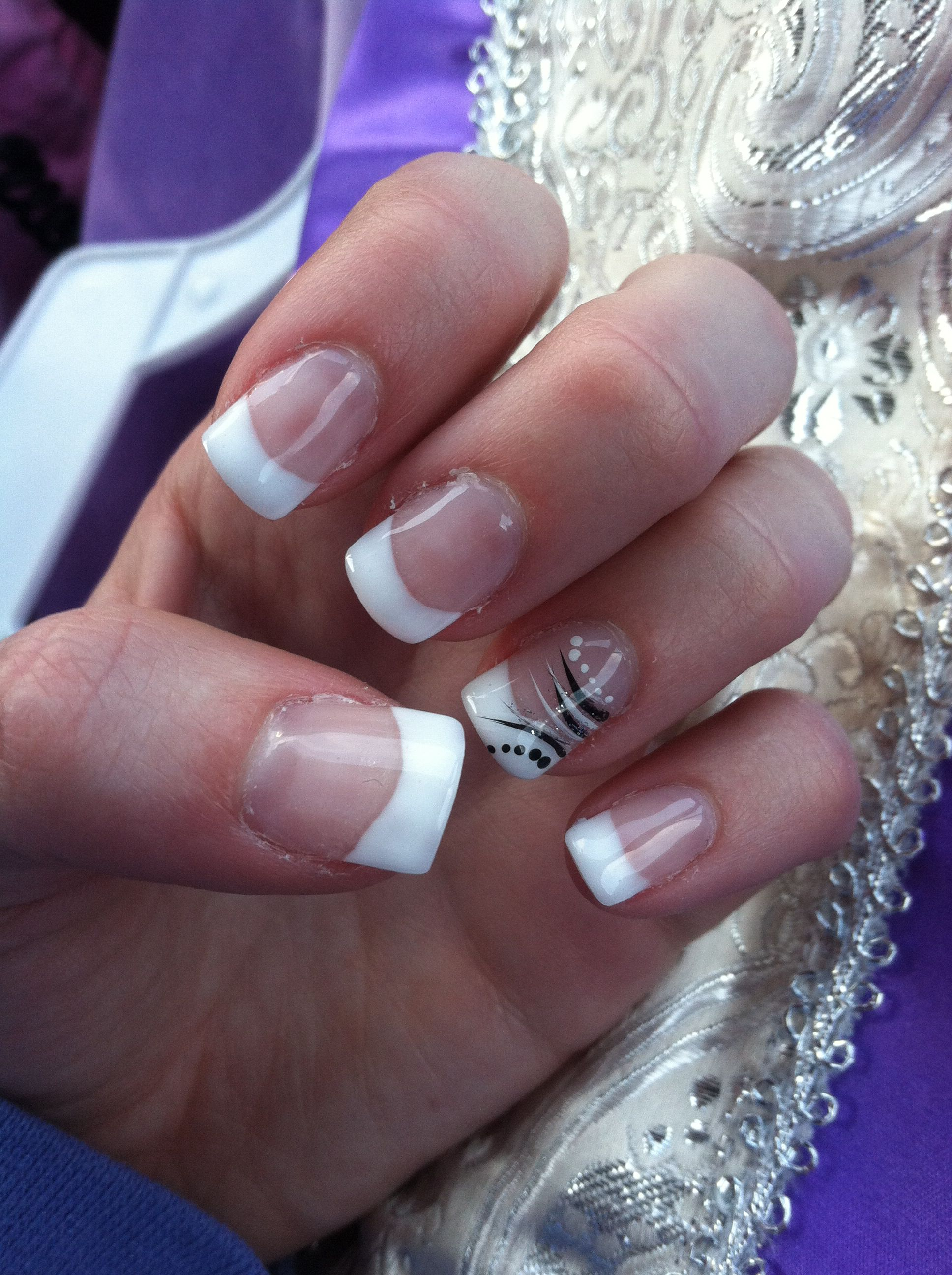 french manicure gel nails with design | Nails | Pinterest | Manicure ...