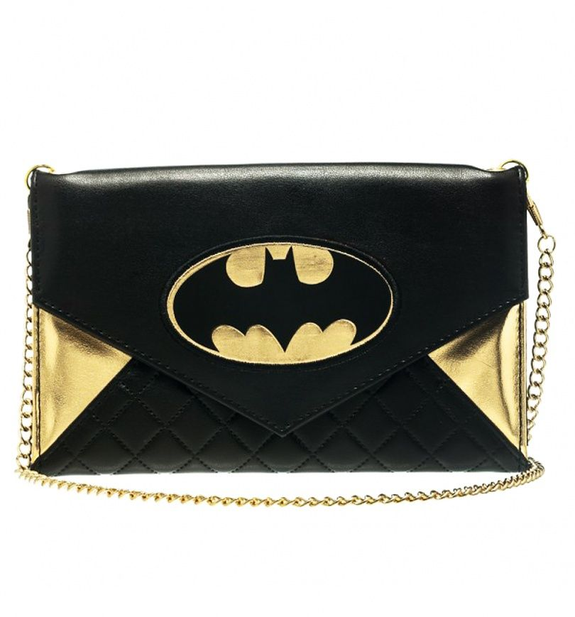 e540d586c2 This stylish  bag features the classic  Batman logo in gold and black and  also comes with quilted panels and a detachable gold chain so it can be  worn over ...