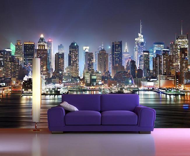 Colour New York Skyline Wallpaper Papel De Parede 3d Murais De Parede Papeis De Parede 3d