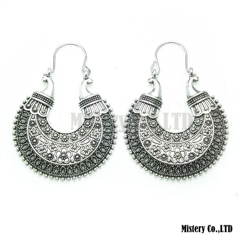 Tibetaans Zilveren Kleur Gesneden Maan Vintage Etnische Drop Dangle Oorbellen Retail Sieraden Sieraden Gift Voor Vrouwen Meisjes