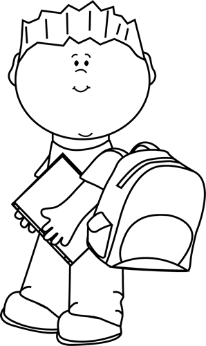 Black And White Boy Carrying Book To School Clip Art Black And White Boy Carrying Book To School Image Book Clip Art Kids Clipart Clip Art