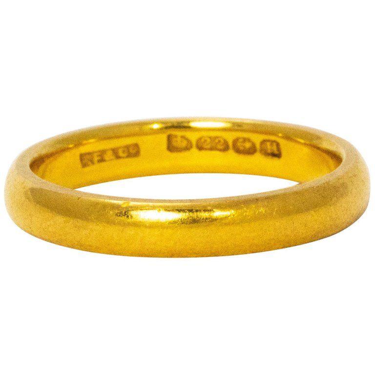 1930s Hallmarked 22 Karat Yellow Gold Wedding Band Contemporary Wedding Rings Yellow Gold Wedding Band Wedding Bands