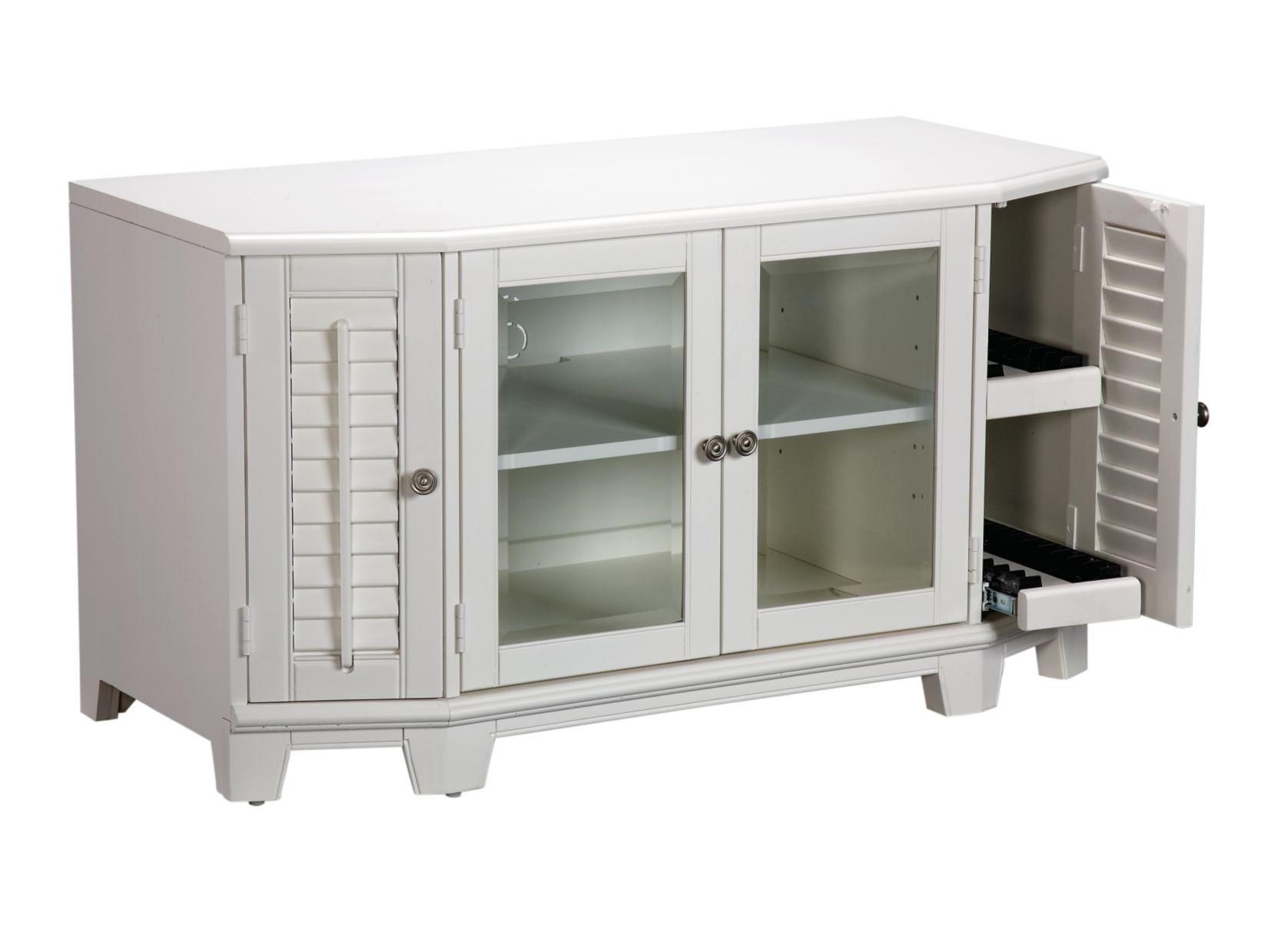 Plantation cove 48 white tv stand value city furniture - Plantation cove bedroom furniture ...