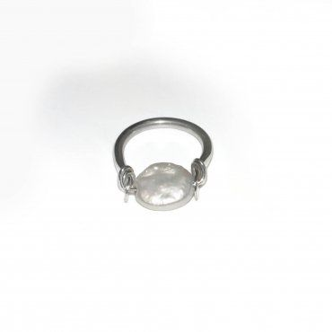 """OF26- Jenni K Jewelry- Jennik.com  This Sterling Silver """"horseshoe ring"""" features a 10mm button Pearl."""