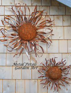 Shredded Wall Flower  Metal Petals Garden Art    Art, flower, garden art, home and garden, gardening, home decor, recycled, steel, metal flower, primitive, rustic, wall art,