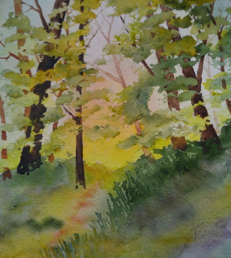 Summer Trees Original Fine Art Watercolor Original Tree Etsy In 2020 Fine Art Landscape Landscape Paintings Fine Art