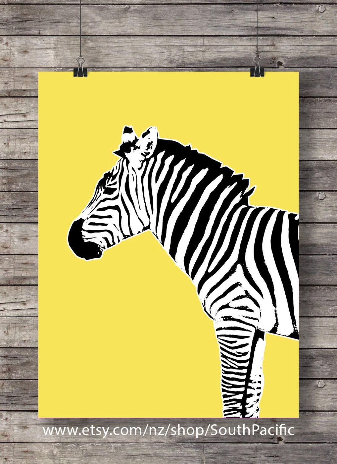 Printable art | Bright yellow pop-art Zebra | Printable wall art ...