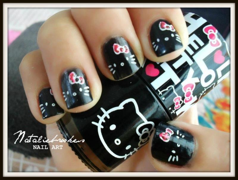 Hello Kitty nails! Black and white with pink bows #nails DIY NAIL ...