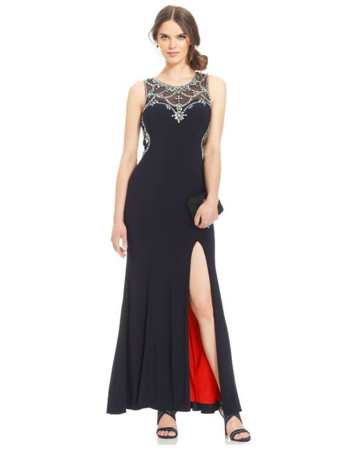 8665ec0622f Women s Black Petite Embellished Illusion Gown