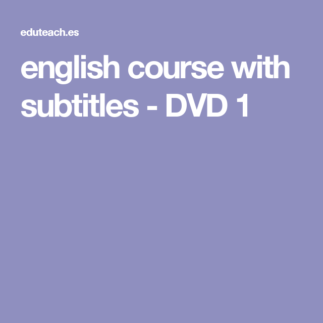 english course with subtitles - DVD 1