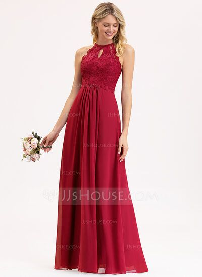 [US$ 107.00] A-Line/Princess Scoop Neck Floor-Length Chiffon Lace Bridesmaid Dress (007153307) #lacebridesmaids