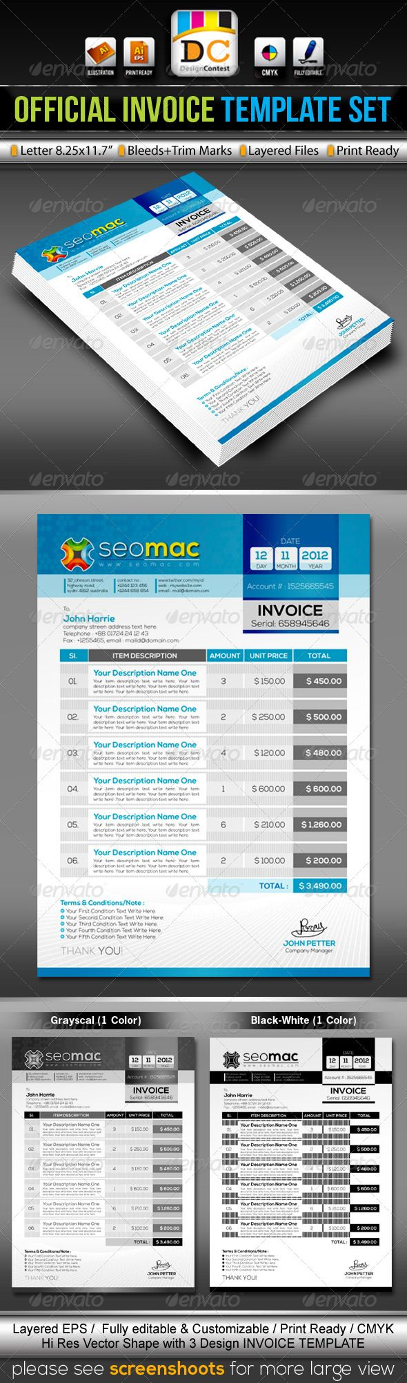 seomac_official invoice/cash memo template set | computers, Invoice examples