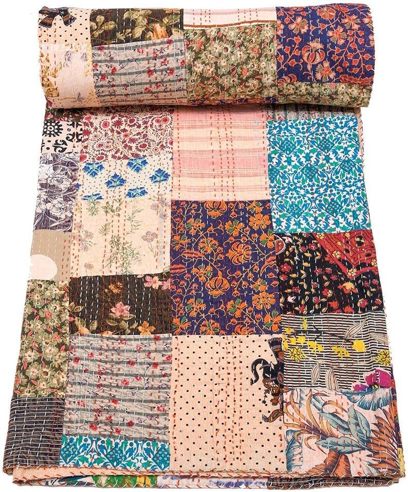Indian Throw Bedding Bedspread Queen Kantha Quilt Bohemian Reversible Blanket