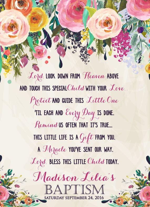 Baptism Prayer, Baptism Poem, Baptism Sign, Baptism, Flower