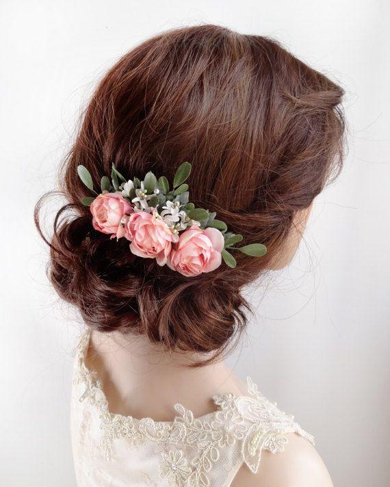 Bridal hair comb, pink rose hair clip, floral hair ...