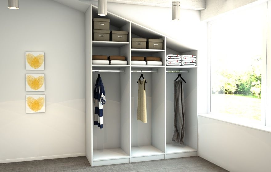 begehbarer kleiderschrank nach ma in der dachschr ge. Black Bedroom Furniture Sets. Home Design Ideas