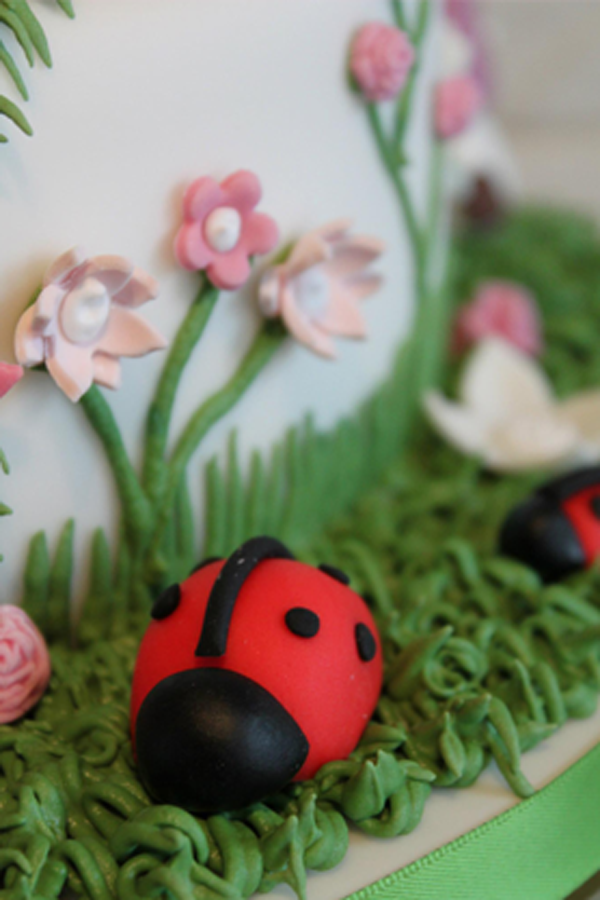 Enchanted Garden birthday cake. Close up of ladybirds ...