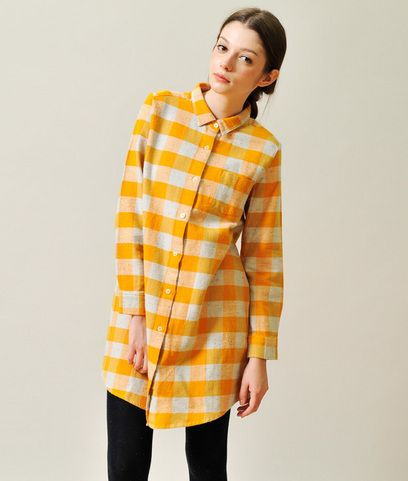 Block Check Long Sleeve Nel Shirt One-Piece(Yellow)