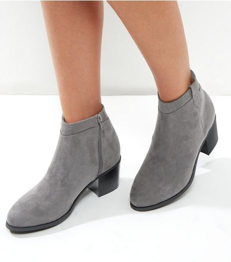 72b84baa5e21 Wide Fit Grey Suedette Western Ankle Boots