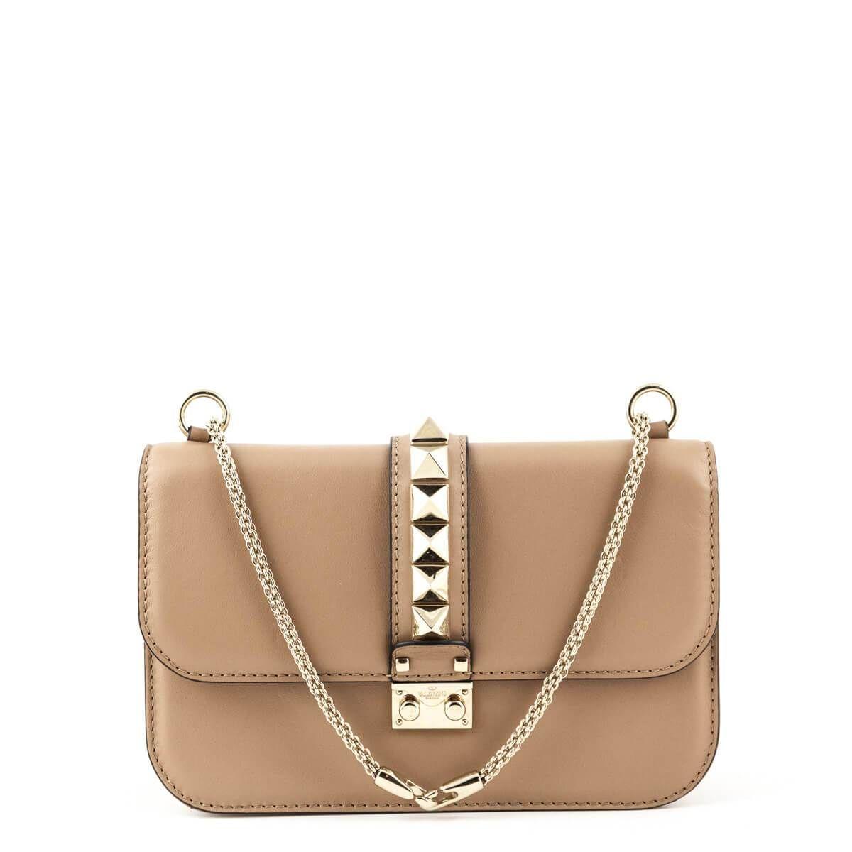 Valentino Beige Calfskin Medium Glamlock Chain Bag Designer Bags Chain Bags Bags Valentino