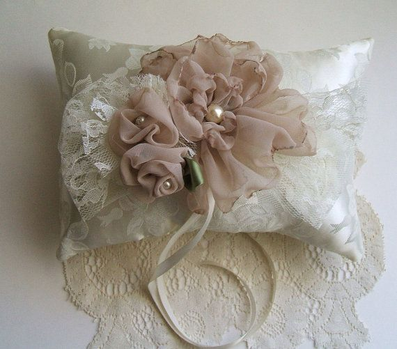 Wedding Pillow OOAK Chiffon Rose In Ivory by RoseGardenStitches