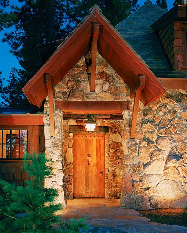 Wood And Stone House european home in lahontan, california | wood houses, stone houses