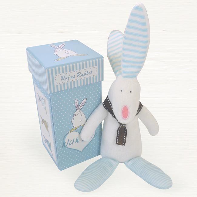Rabbit Rattle in a Box Baby Boy Gift Christening Rufus Rabbit NEW