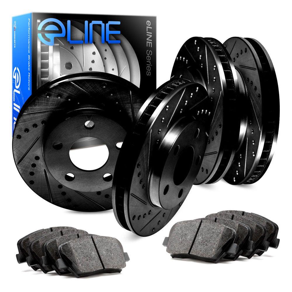For Ford Mustang Front Rear Black Drill Slot Brake Rotors+Ceramic Brake Pads